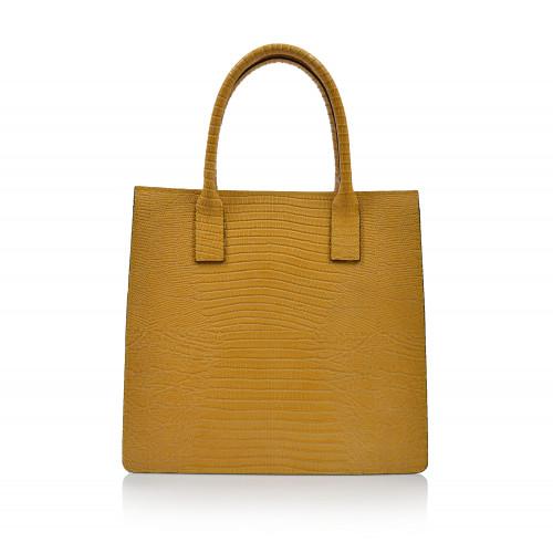 Kabelka kožená klasická 00468 žltá