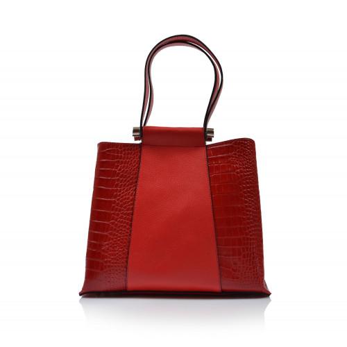 Kabelka kožená klasická 323060 červená