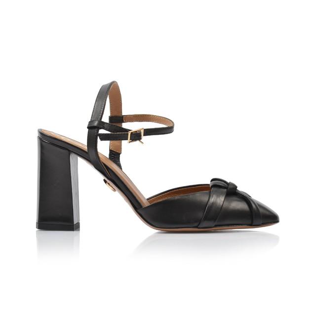 Dámske sandále na podpätku d01996 cierna
