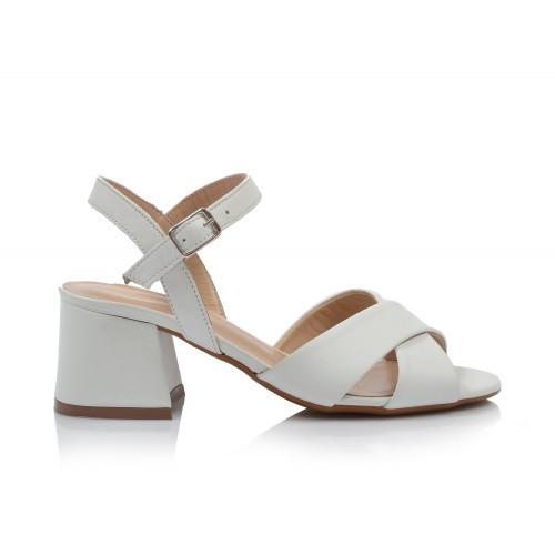 Dámske sandále na podpätku 0639-00895 biela