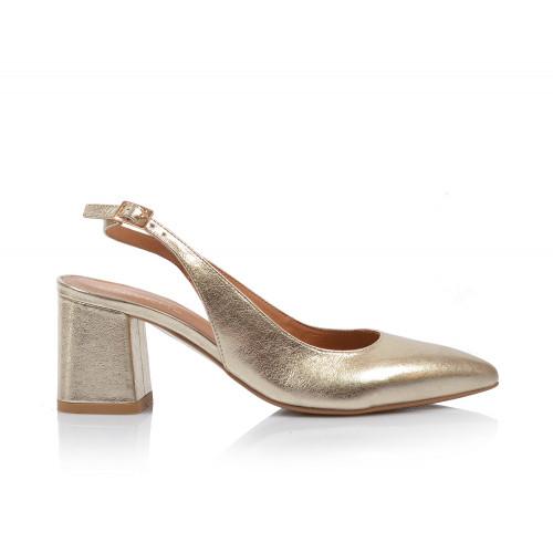 Dámske sandále na podpätku 2263-65 zlatá