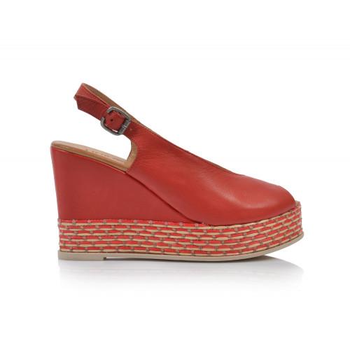 Dámske sandále na platforme 20wq5802 červená