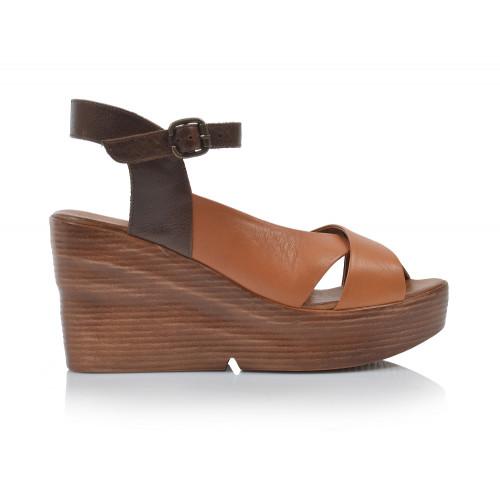 Dámske sandále na platforme 20wq6102 koňaková