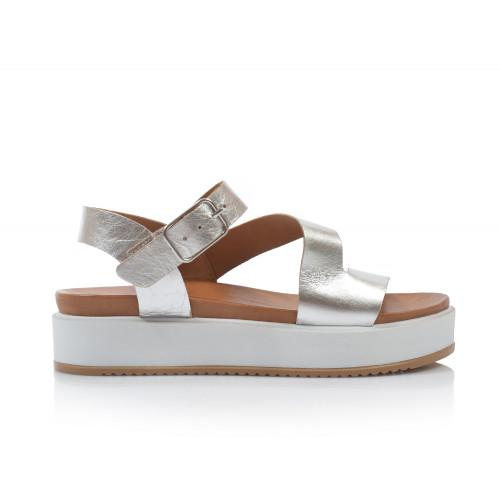 Dámske sandále na platforme 112041 strieborná