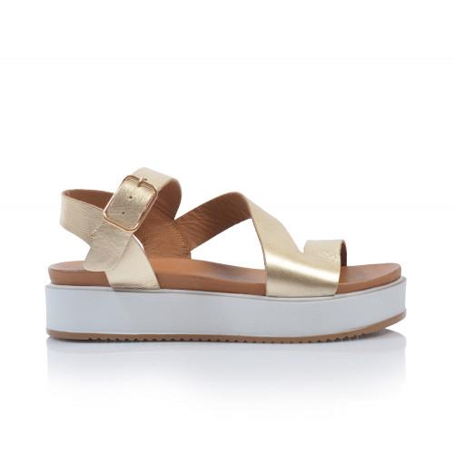 Dámske sandále na platforme 112041 zlatá