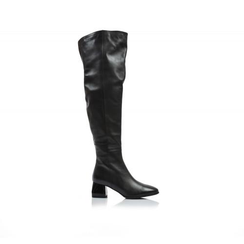 Dámske čižmy nad koleno b-3865 čierna